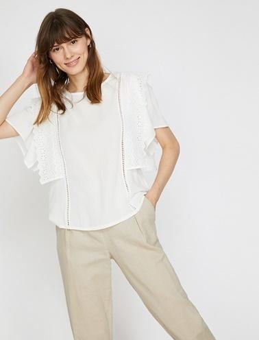 Koton Dantel Detaylı Bluz Beyaz